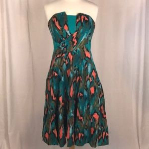 Anthropologie Strapless Watercolor dress